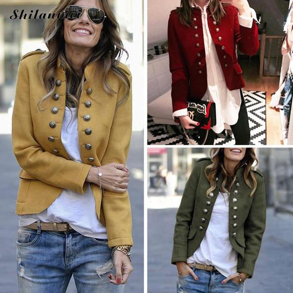 Retro chaqueta del otoño de las mujeres de manga larga verde del ejército chaqueta de bombardero Mujer Amarillo delgada capa del resorte muchachas frescas Casual Streetwear