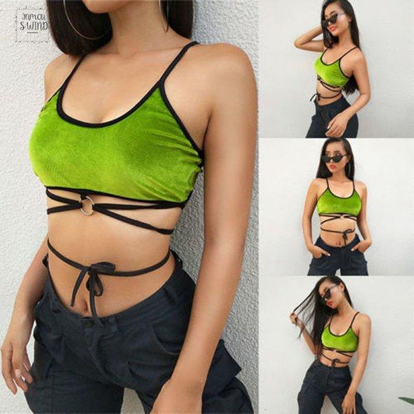 Yeni Marka Kadınlar Bayanlar Tanklar strappy Vest Top unpadded Yeşil Kirpik En Sütyen göster Göbek Kırpma Üst