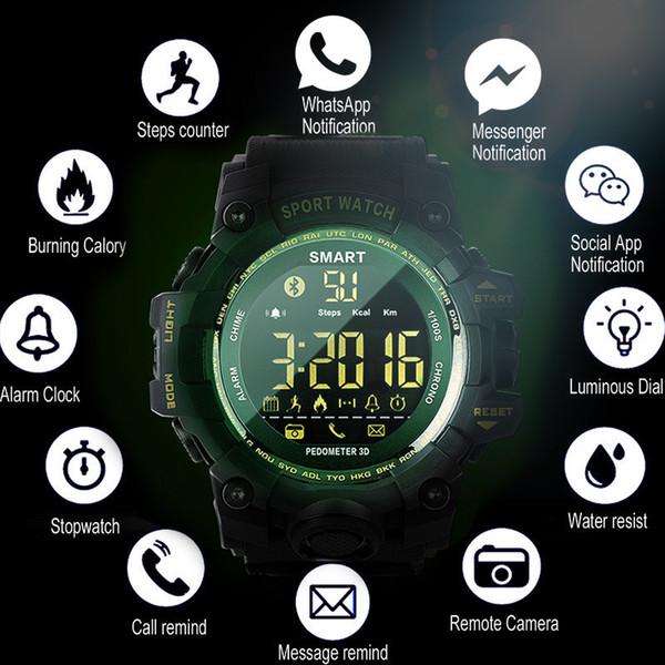 Smart Watch Sports Fitness Bracelet Waterproof Camera Alarm Long Standby Military Smartwatch Bluetooth Pedometer Wrist Watch MX190716