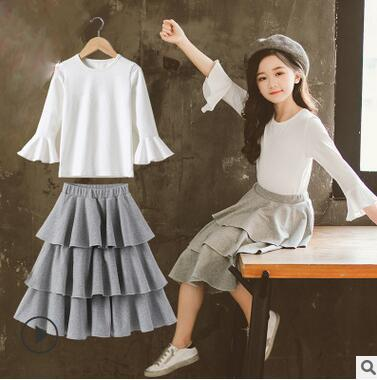 Girls'Suit 2019 Spring Clothes New Korean Edition Middle-aged Children's Cake Elegant Pure Skirt with Lotus Leaf Edge 0334