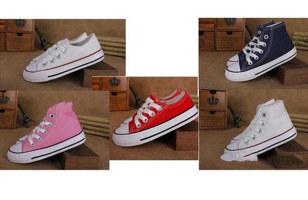 Классический стиль All Size 24-34 Низкий высокий стиль Высокий стиль Холст кроссовки для детей мальчики девочки повседневная обувь Детская повседневная обувь на плоской подошве