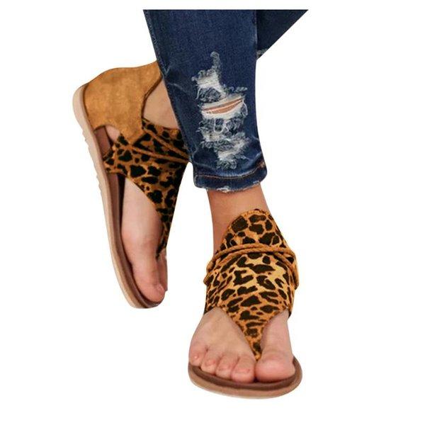 Midress Womens Gladiator Sandals Slip On Leopard Printed Flip Flop Sandals Comfy Back Zipper Walking Flat Shoes