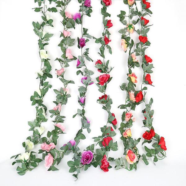 2.2M 16 Jefes Artificial Flores colgantes Rattan rosas rose seda vid de la hiedra falsa decoración de jardín boda Flores Inicio vid falsa