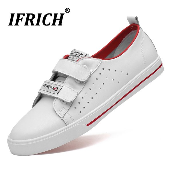 New Luxury Youth Fashion Mens Shoes White Hole Leather Men Shoes High Quality Men Casual Hook & Loop Flats Walking