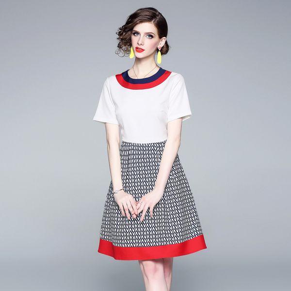 Летний новый женский цветной принт юбка слово Европа и Великобритания ветер длинный шею с коротким рукавом юбка слово