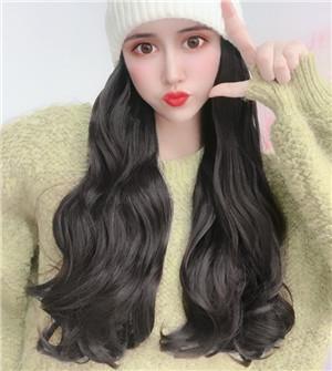sombrero de un postizo femenina peluca pelo largo es dong lana día de tejer todo integral boga Qiu largo rizo envía gran ola de tipo de cobertura