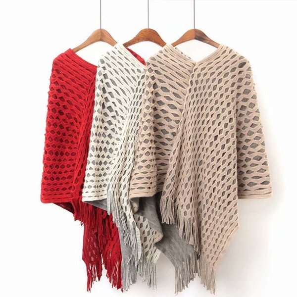 Casual Women Sweater Poncho And Cape Hollow out Knitted Sweaters Tassel Pullover Loose Sweater Women Warm Coat