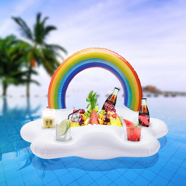 Inflatable Drink Cup Holder Clouds Rainbow Pool Floats Swim Ring Pool Toys Beach Island Inflatable Holders Party Toy MMA1967 100pcs