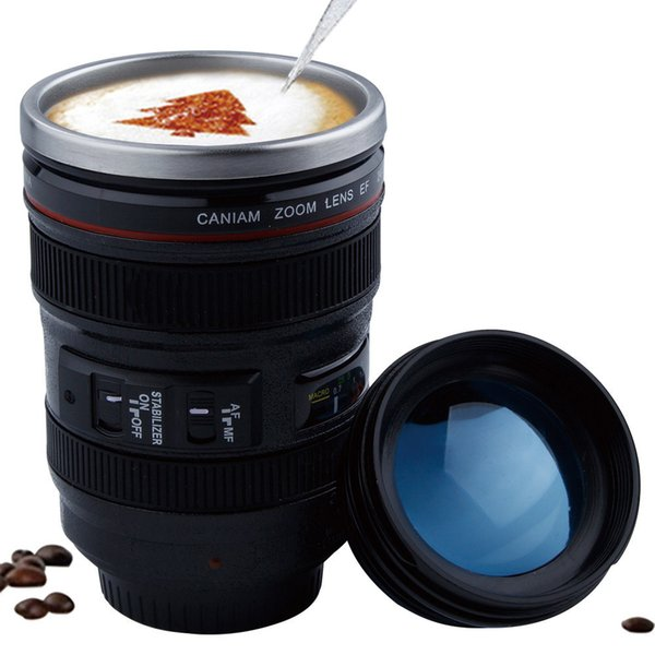 400ml Stainless Steel Camera Lens Mug With Lid New Fantastic Coffee Mugs Tea Cup Novelty Gifts Caneca Lente Cups Drinkware C19041302