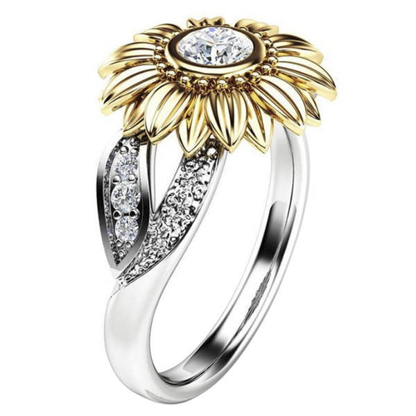 Women Jewelry Femme Gold Silver Color Cute Sunflower Crystal Wedding Rings