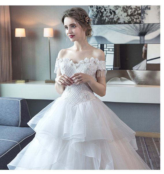 Wedding dress 2019 new European and American travel shot was thin large size white petticoat Floor-length wedding multi-layer skirt