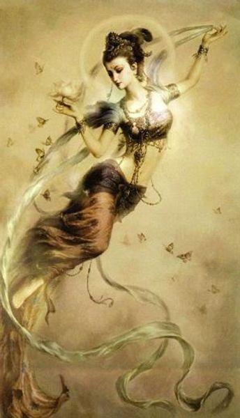 Dea cinese Dunhuang Kwan-yin Fata volante Artigianato di qualità / Stampa HD Ritratto Pittura ad olio su tela, Opzione multi formato / cornice D36