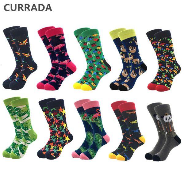 10 paare / los Marke Qualität Herrensocken Gekämmte Baumwolle bunte Glückliche Lustige Socke Herbst Winter Warme Beiläufige lange Männer kompression socke SH190904