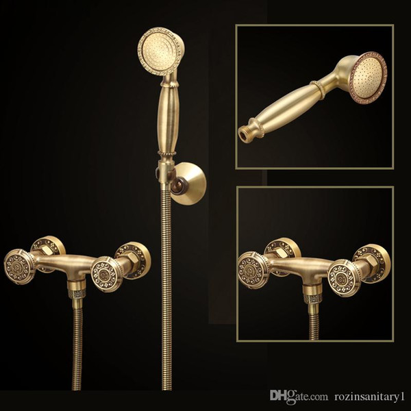 Euro Style Wall Mounted Shower Faucet Bathroom Handheld Shower Mixer Water Tap With handshower Antique Brass