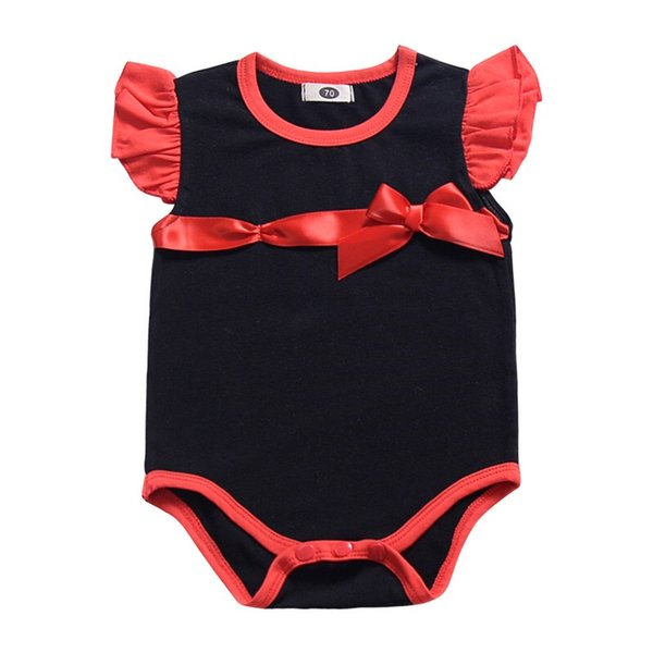 2019 INS Must-have Baby Girls Rompers Fly Sleeve Black Red White Blue Bow One Piece Bodysuits Newborn Boys Jumpsuits Infant Toddler