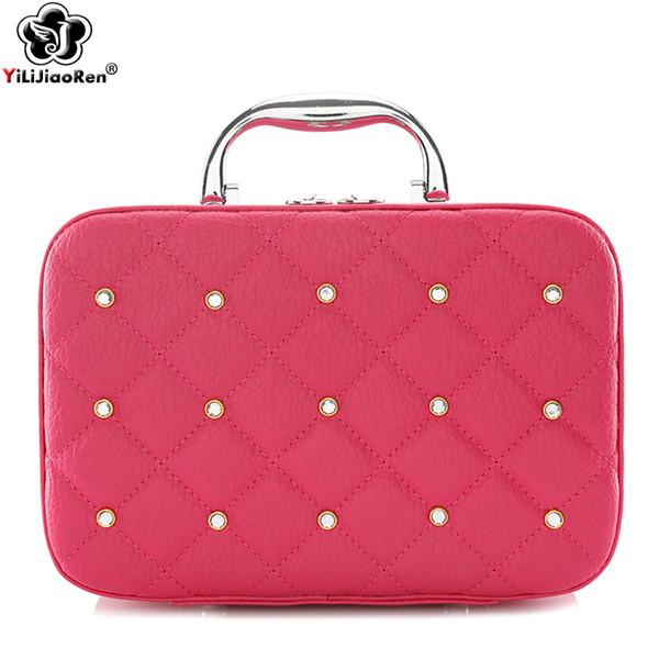 Fashion Diamonds Make Up Bagse Large Capacity Cosmetic Cas Famous Brand Leather Make Up Box Portable Travel Makeup Organizer Bag