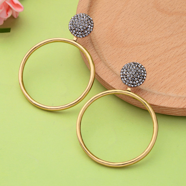Punk New Fashion Jewelry Luxury Crystal Star Big Circle Round Drop Earrings For Women Double Use Charm Earrings Accessories