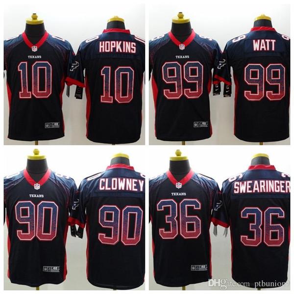 d9f41d019 2018 Mens Houston #10 DeAndre Hopkins #99 JJ Watt #90 Jadeveon Clowney 36  DJ Swearinger Short sleeve Limited Texans Jerseys