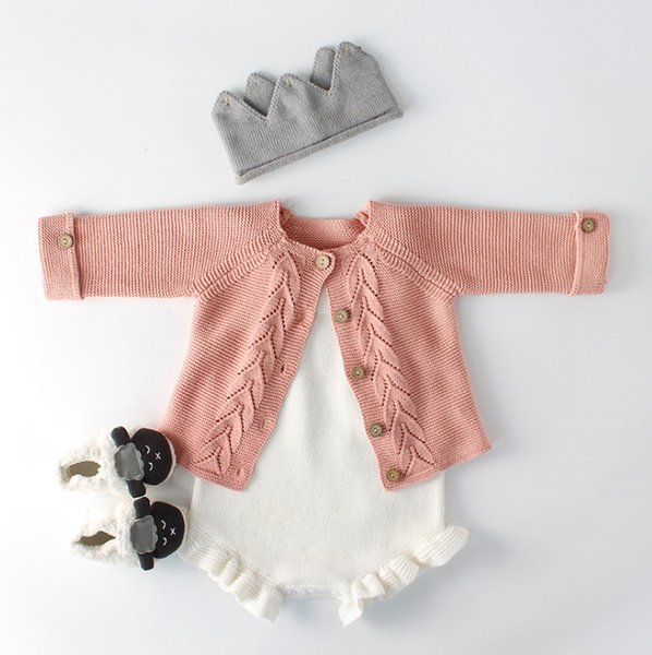 INS Baby boys leaves knitted round collar long sleeve cardigan outwear+sweater romper 2pcs sets 2019 spring baby girls clothing F2891
