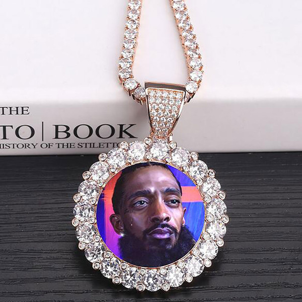 best selling 14K Custom Made Photo Round Medallions Pendant Necklace 3mm Tennis Chain Silver Gold Color Zircon Men Hiphop Jewelry