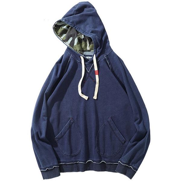 2019 Hip Hop Sudadera con capucha Streetwear Hombres Retro Sudadera con capucha de mezclilla Pullover Otoño Invierno Harajuku Sudadera con capucha Bolsillos azules