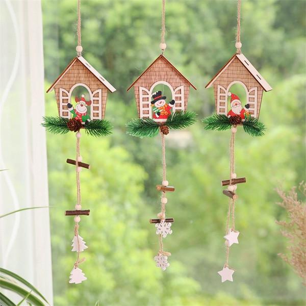 Weihnachtsbaum Anhänger Haus Form Anhänger Holz Weihnachtsmann Schneemann Elch Stile Hängen Ornamente Fit Innendekoration 4 4yw E1