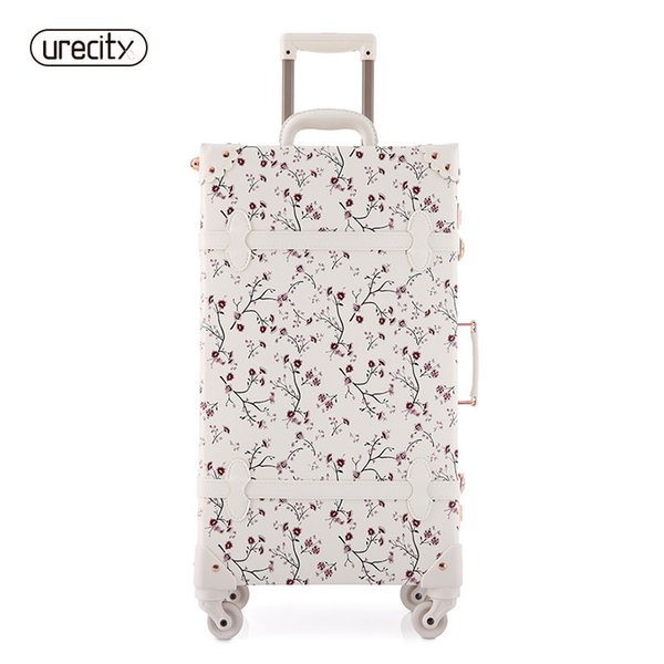 2018 NEW women floral travel luggage retro spinner suitcase rolling girl hardside luggage lock flower printed free shipping