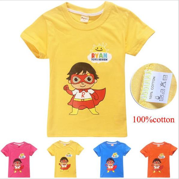 Ryan Toys Review T-shirts 4 Couleurs 4-12y Enfants Garçons Filles Coton T-shirts T-shirts Enfants designer vêtements garçons Vêtements enfants FJ06