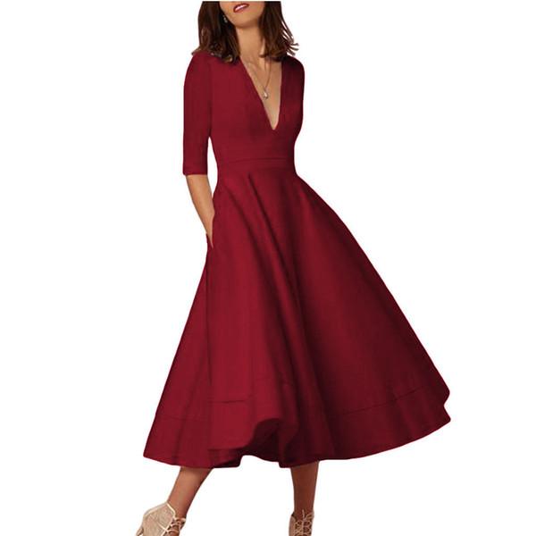 Frauen arbeiten Qualitäts-lose Sommer-Kleider beiläufige Rock-Oberseiten lose Dressnew Entwerfer-V Kragen-fünf Punkt-Hülsen-Kleid-Kleidung um