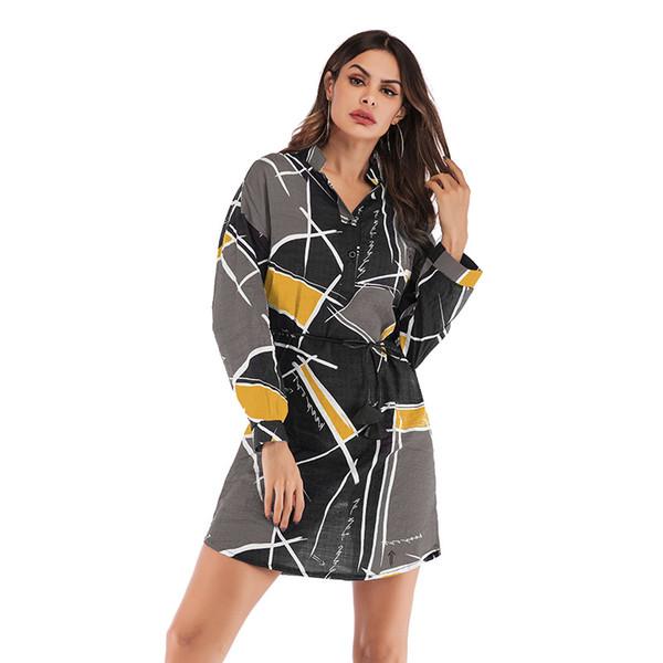 in stock Women Contrast Color Geometric Print Shirt Dress Long Sleeve Fashion Streetwear with Belt Shirt Dresses
