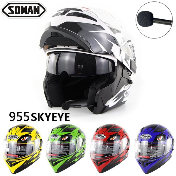 Flip Up Motorcycle Helmets With Built-in Bluetooth Earphone Double Visors Motorbike with BT Headset Dual Use Helm 955-BT