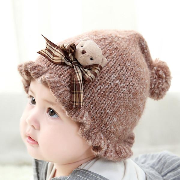 Cute Baby Hats Ball Wool knit Bucket Hat Infant Boys Girls Handmade Hats Children Warm Bonnet Little Bear Decoration Five Colors