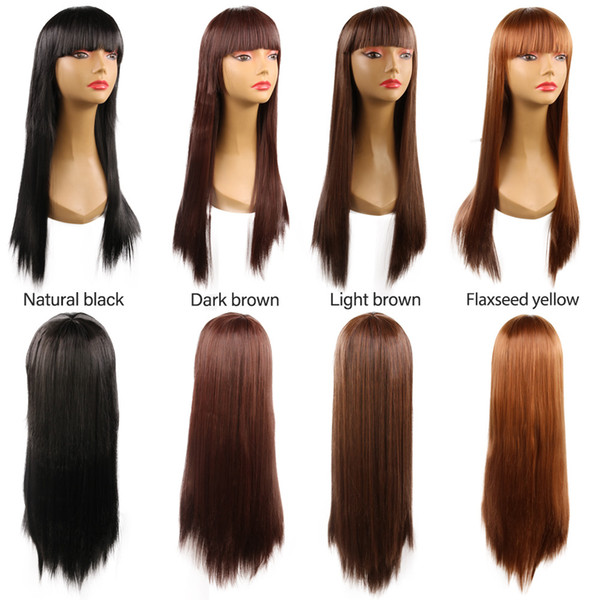 Women Long Cosplay Synthetic Straight Hair Cheap Middle Side Bang Chemical Dyed Partial Fiber Heat Resistant Wig