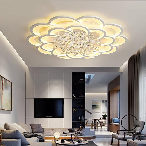 Plafonniers Led Moderne Pour Salon Chambre Bureau Bureau En Cristal Lustre Plafonnier Home Deco Plafonnier Lampe Avize