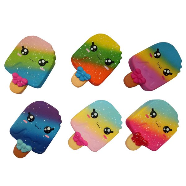Rainbow cabo mordida ice cream pu squishy brinquedo lento rebote brinquedos liberação stress para crianças presente de natal