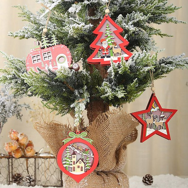 Led Light Up Wooden Decorative Hanging Ornaments For Indoor Christmas Tree Party Bedroom Holiday Decoration Produtos De Natal Christmas Decorations
