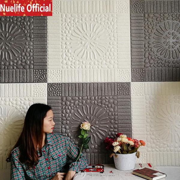 Fond d'écran 3D auto-adhésif grès autocollants de chambre motif brique plafond salon stickers muraux décoratifs modernes