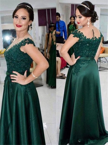 Hunter Green Cap Sleeves Long Evening Dresses Lace Beaded Sheath Long Prom Gowns Floor Length Satin Mother Dresses Plus Size Customed