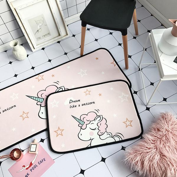 Dessin Animé Rose Licorne Flamingos Tapis Tapis Tapis De Sol Animal Imprimé Salle De Bains Tapis De Cuisine Paillassons pour Salon Anti-Slip