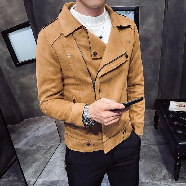 New Arrival Thick Diagonal Lapel Mens Jackets Suede Trend Youth Casual Jacket Autumn Solid Color Long Sleeve Slim Fit Jacket Men