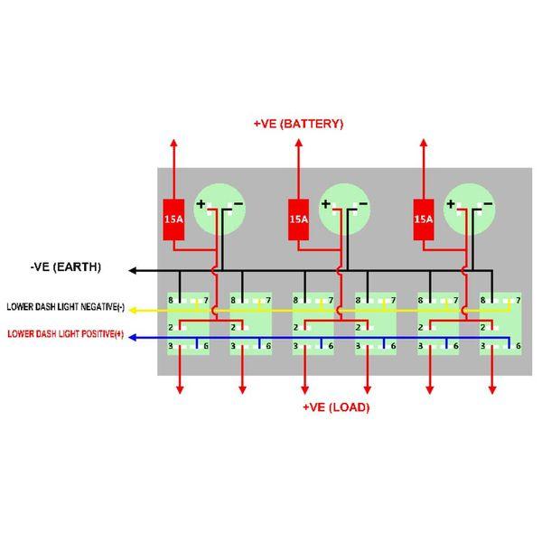 best selling 6Gang LED Car Switch Panel Rocker Dual USB Charger Socket Cigaretter Lighter Voltmeter 3.1A For Boat Marine