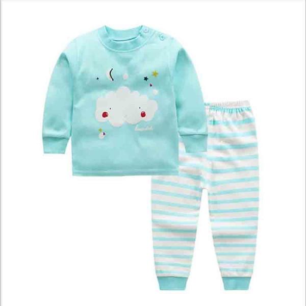 Kaliteli 2019 Yeni Lnfant Kız Giysileri Erkek Pijama Giyim Setleri Karikatür Uzun Kollu Üst + Baskılı Pantolon Pamuk 2 Adet Set