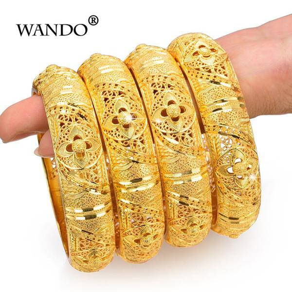 WANDO 4pcs / lot Bijoux De Mariage Pour Femmes Filles Bracelets Or Couleur Élégant Arab / Ethiopian India Bridal Bangles Party Gifts b152