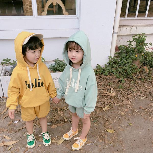 Primavera bambini bambini cotone lavorato a maglia 2pcs vestiti 2019 ragazzi ragazze lettere stampate a maniche lunghe con cappuccio e pantaloncini insiemi tute