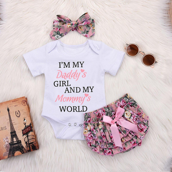 Newborn Kids Baby Girl Outfits Clothes Romper Bodysuit+Tutu Pants Dress Set hot sell fashionable 3 styles 3PCS