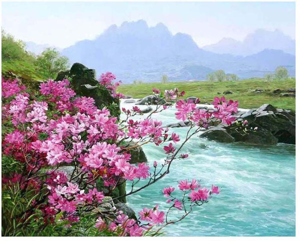 "DIY Painting By Numbers Kits Paint Adult Hand Painted Oil Paint-Pink creek 16""x20"""