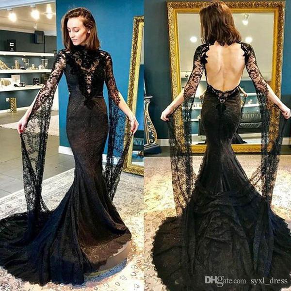 Plus size gótico preto cheio do laço de manga longa vestidos de noiva sereia vestidos de noiva 2019 robe de mariée vestido de noiva boho