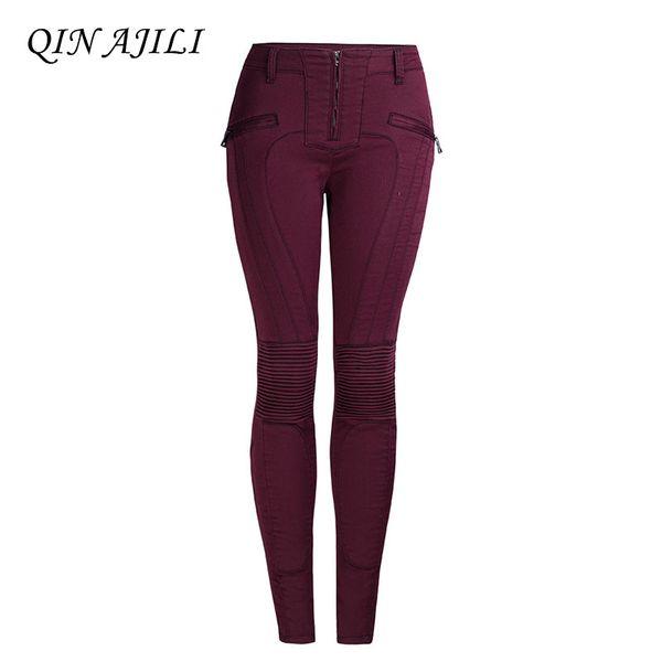 QIN AJILI Femme jeans Mid Waist Denim Zipper Moto % Biker Trouser Skinny Mujer Pencil Pencil Pants elastic Full Length for Lady