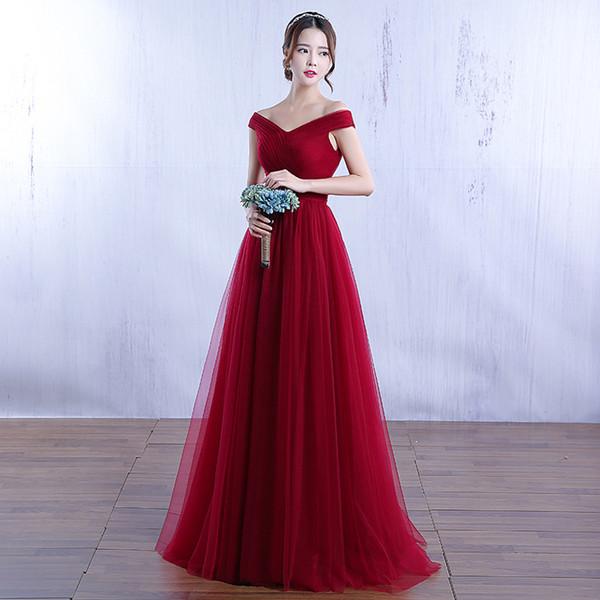 abiti da sposa in pizzo donna festa notte fuori spalla abito da sposa 2018 gocce lunghe maxi giovane vino rosso