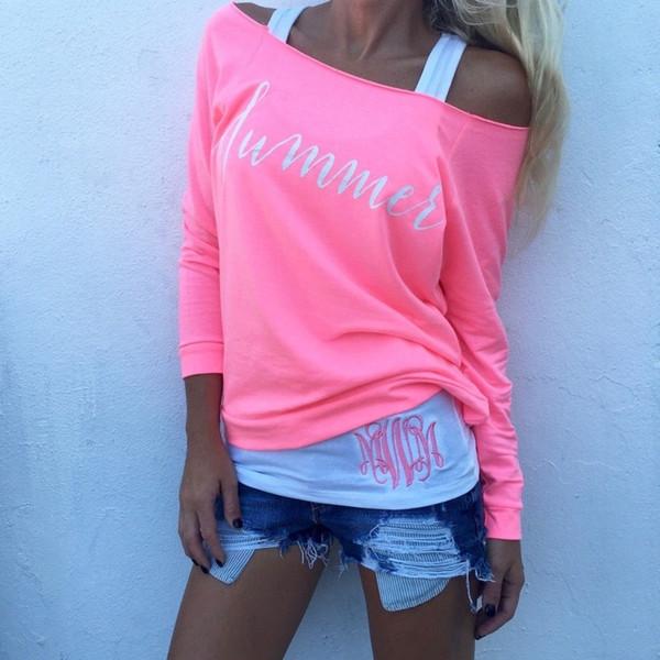 Yeni Moda Kadınlar Bayanlar Uzun Kollu Kapalı Omuz Slash Boyun T-shirt Rahat Gevşek Mektup Baskı Pamuk Tişört Tops